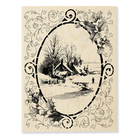 Stampendous - Christmas - Wood Mounted Stamps - Vintage Vignette