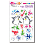 Stampendous - Christmas - Clear Acrylic Stamps - Skating Penguins