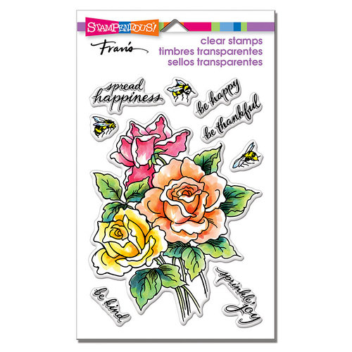 Stampendous - Clear Photopolymer Stamps - Roses Be Happy