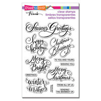 Stampendous - Christmas - Clear Photopolymer Stamps - Brushed Greetings