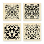 Stampendous - Wood Mounted Stamps - Texture Cube - Ornate Tiles