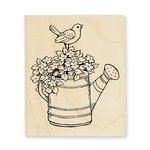 Stampendous - Wood Mounted Stamps - Watering Can Bird