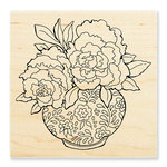 Stampendous - Wood Mounted Stamps - Peony Vase