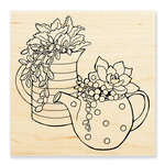 Stampendous - Wood Mounted Stamps - Potted Succulents