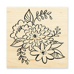 Stampendous - Wood Mounted Stamps - Mum Blossoms