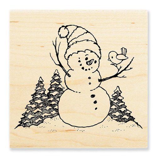 Stampendous - Christmas - Wood Mounted Stamps - Snowman Perch