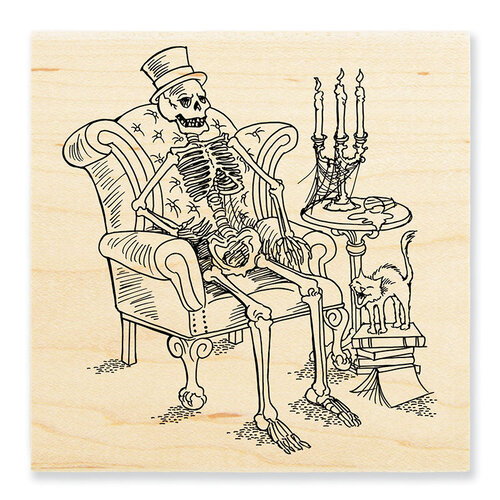 Stampendous - Halloween - Wood Mounted Stamps - Seated Skeleton