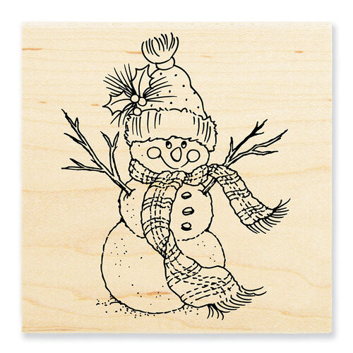 Stampendous - Christmas - Wood Mounted Stamps - Snowman Scarf