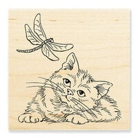 Stampendous - Wood Mounted Stamps - Dragonfly Kitten