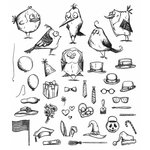 Stampers Anonymous - Tim Holtz - Cling Mounted Rubber Stamp Set - Mini Bird Crazy and Things