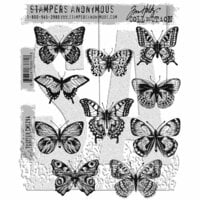 Stampers Anonymous - Tim Holtz - Cling Mounted Rubber Stamp Set - Flutter