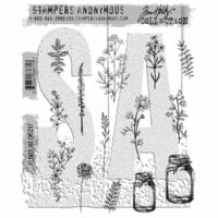 Stampers Anonymous - Tim Holtz - Cling Mounted Rubber Stamp Set - Flower Jar