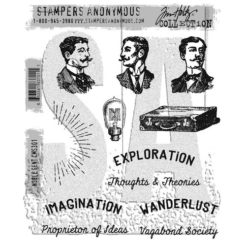 Stampers Anonymous - Tim Holtz - Cling Mounted Rubber Stamp Set - Noble Gent