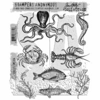 Stampers Anonymous - Tim Holtz - Cling Mounted Rubber Stamp Set - Sea Life