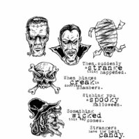 Stampers Anonymous - Tim Holtz - Halloween - Cling Mounted Rubber Stamp Set - Monstrous