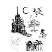 Stampers Anonymous - Tim Holtz - Halloween - Cling Mounted Rubber Stamp Set - Haunted House