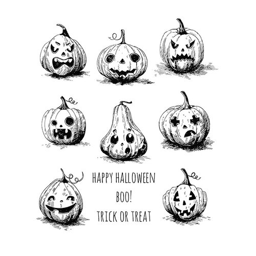 Stampers Anonymous - Tim Holtz - Halloween - Cling Mounted Rubber Stamp Set - Pumpkinhead