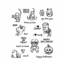 Stampers Anonymous - Tim Holtz - Halloween - Cling Mounted Rubber Stamp Set - Scared Silly