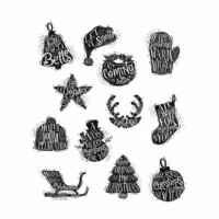 Stampers Anonymous - Tim Holtz - Christmas - Cling Mounted Rubber Stamp Set - Mini Carved Christmas
