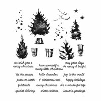 Stampers Anonymous - Tim Holtz - Christmas - Cling Mounted Rubber Stamp Set - Watercolor Trees