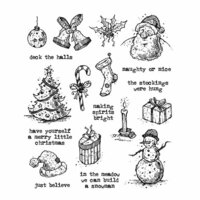 Stampers Anonymous - Tim Holtz - Christmas - Cling Mounted Rubber Stamp Set - Tattered Christmas