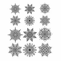 Stampers Anonymous - Tim Holtz - Christmas - Cling Mounted Rubber Stamp Set - Mini Swirly Snowflakes