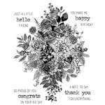 Stampers Anonymous - Tim Holtz - Cling Mounted Rubber Stamp Set - Glorious Bouquet with Grid Block