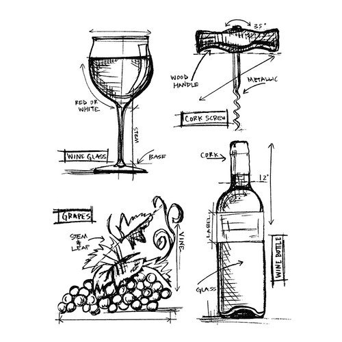 Stampers Anonymous - Tim Holtz - Cling Mounted Rubber Stamp Set - Wine Blueprint