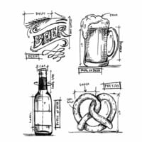 Stampers Anonymous - Tim Holtz - Cling Mounted Rubber Stamp Set - Beer Blueprint
