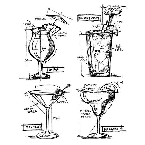 Stampers Anonymous - Tim Holtz - Cling Mounted Rubber Stamp Set - Cocktails Blueprint