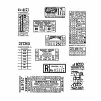 Stampers Anonymous - Tim Holtz - Cling Mounted Rubber Stamp Set - Ticket Booth