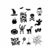 Stampers Anonymous - Tim Holtz - Halloween - Cling Mounted Rubber Stamp Set - Spooky Scribbles