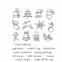 Stampers Anonymous - Tim Holtz - Christmas - Cling Mounted Rubber Stamp Set - December Doodles