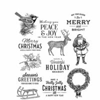Stampers Anonymous - Tim Holtz - Christmas - Cling Mounted Rubber Stamp Set - Festive Overlay