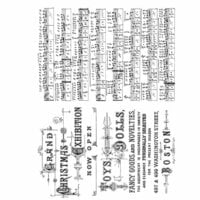 Stampers Anonymous - Tim Holtz - Christmas - Cling Mounted Rubber Stamp Set - Music and Advert