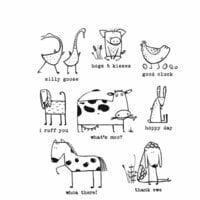 Stampers Anonymous - Tim Holtz - Cling Mounted Rubber Stamp Set - Funny Farm