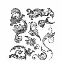 Stampers Anonymous - Tim Holtz - Cling Mounted Rubber Stamp Set - Scrollwork