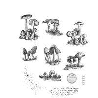 Stampers Anonymous - Tim Holtz - Cling Mounted Rubber Stamp Set - Tiny Toadstools