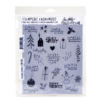 Stampers Anonymous - Christmas - Tim Holtz - Cling Mounted Rubber Stamp Set - Seasonal Scribbles