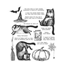 Stampers Anonymous - Tim Holtz - Cling Mounted Rubber Stamp Set - Snarky Cat Halloween