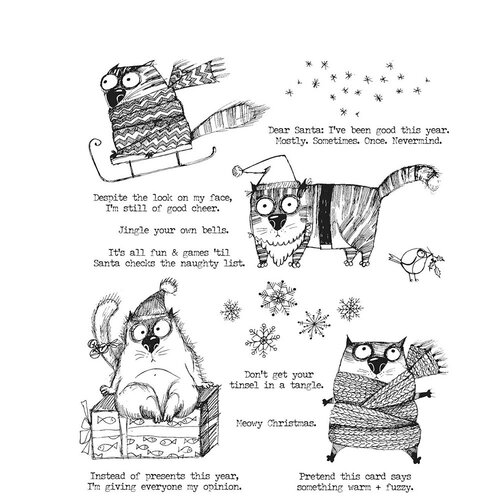 Stampers Anonymous - Tim Holtz - Cling Mounted Rubber Stamps - Snarky Christmas Cat