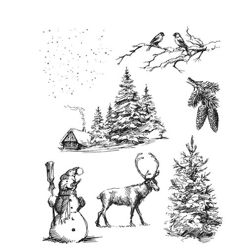 Stampers Anonymous - Tim Holtz - Cling Mounted Rubber Stamps - Christmas - Winterscape