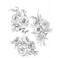 Stampers Anonymous - Tim Holtz - Cling Mounted Rubber Stamp Set - Floral Outline