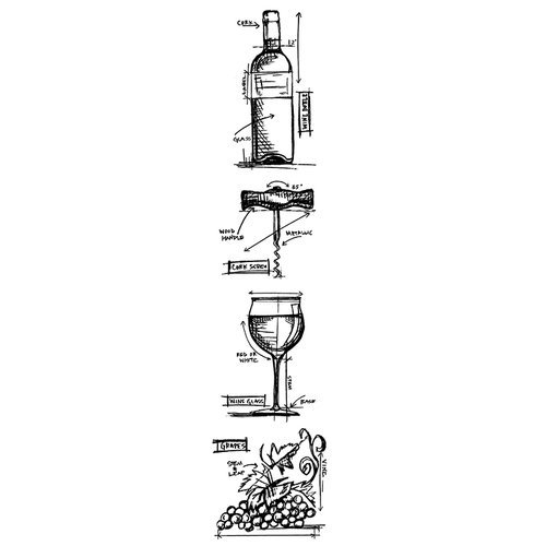 Stampers Anonymous - Tim Holtz - Cling Mounted Rubber Stamp Set - Blueprint Strip - Wine