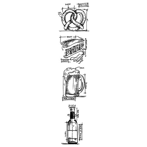 Stampers Anonymous - Tim Holtz - Cling Mounted Rubber Stamp Set - Blueprint Strip - Beer