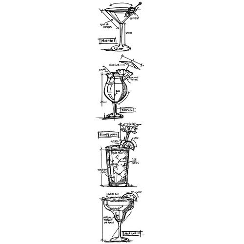 Stampers Anonymous - Tim Holtz - Cling Mounted Rubber Stamp Set - Blueprint Strip - Cocktails