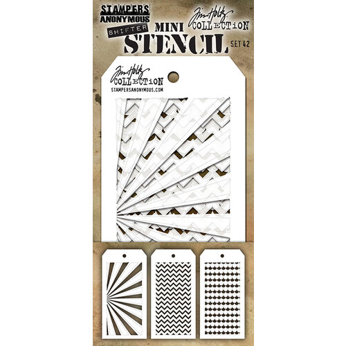 Stampers Anonymous - Tim Holtz - Layering Stencil - Mini Set 42