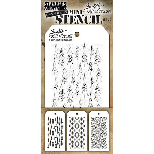 Stampers Anonymous - Tim Holtz - Mini Stencil Set Number 50