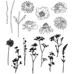 Stampers Anonymous - Tim Holtz - Cling Mounted Rubber Stamp Set - Mini Bouquet
