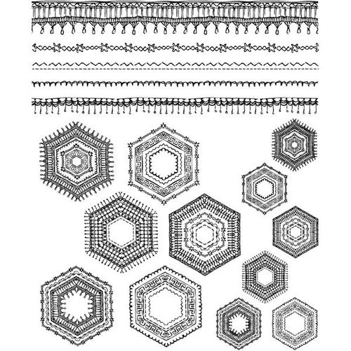 Stampers Anonymous - Tim Holtz - Cling Mounted Rubber Stamp Set - Patchwork Pieces